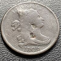 1806 Draped Bust Half Cent 1/2 Cent Circulated Counterstamped #29036