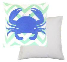 Relleno CANGREJO DE LUJO 100% Algodón Azul Verde Cojín bordado 45.7cm-45cm