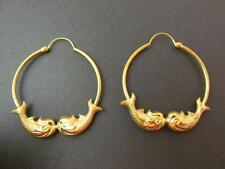 Rare Vintage 18k Solid Yellow Gold Kissing Koi Fish Earrings Tubular Hoop