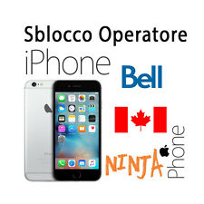 SERVICE SBLOCCO OPERATORE UNLOCK IPHONE 4S 5 5C 5S 6 6+ 6S 6S+ BELL CANADA