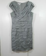 LONDON TIMES dress bodycon tiered party cocktail silver metallic evening 16
