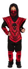Boys Kids Childs Ninja Skeleton Halloween Fancy Dress Costume Age 4 - 12 7-9 Years