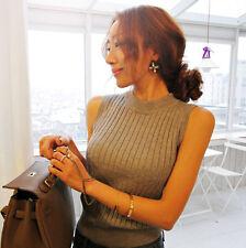 Women Mock Neck Tank Top Stretch Sleeveless Slim Ladies Knit Vest T Shirt Blouse