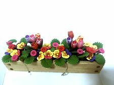 BRIGHT-DELIGHTS DOLLHOUSE MINIATURE ....FLOWERS IN WOODEN PLANTER...A406