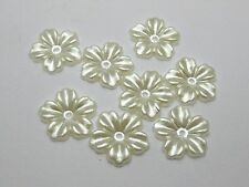 200 Ivory Pearl Flower Beads Flat Back Scrapbook Craft