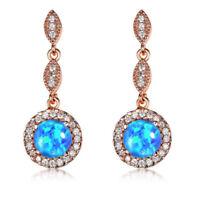 Rainbow Moon Blue Fire Opal White Topaz Rose Gold Plated Stud Hook Earrings
