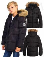 Boys Padded Parka Coat Ages 7 8 9 10 11 12 13 Years Jacket Faux Fur Black