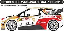 DECALS 1/43 CITROËN DS3 WRC #10 - KUBICA - RALLYE WALES GB 2013 -MF-ZONE D43291