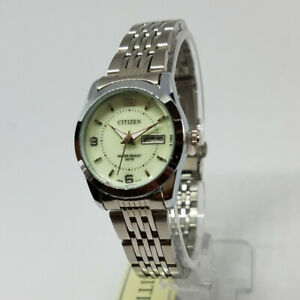 Citizen Battery Quartz Watch Women - Off White/Silver Metal Bracelet Model W1962