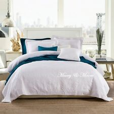French Country Quilted Doona Duvet Quilt Cover Set White Queen 210x 210 cm