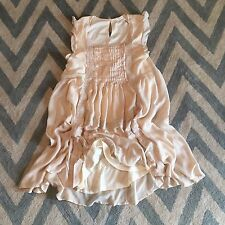M New ANTHROPOLOGIE Women's Blush Beaded Lace Detail Boho Summer Dress MEDIUM