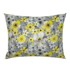 Blooms Yellow Flowers Floral Grey Gray Baby Rose Pillow Sham by Spoonflower