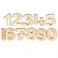 Schreibschrift Zahlen für Kinder, Lernhilfe Holz Zahlen 0 - 10, 4 cm hoch