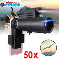 MOGE 50X Zoom Optical HD Lens Monocular Phone Camera Telescope w/ Laser & Tripod