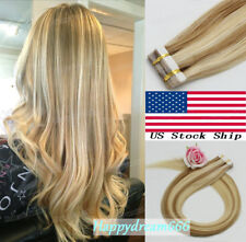 Tape in Hair Extensions Skin Weft Remy Human Hair Ombre Highlight Colors 20piece