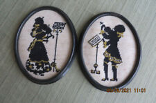 Pair of Vintage Needlepoint Pictures in frames-Musicians