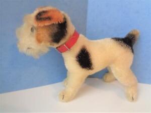 "Vintage Steiff Jack Russell or Fox Terrier Mohair Stuffed Animal Dog 8"" x 7"""