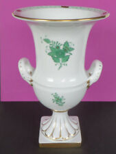 Große Porzellan Henkelvase mit Sockel * Herend Apponyi Grün * handbemalt * 25 cm