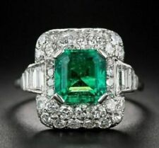 925 Sterling Silver & Green Emerald Cut Sparkling Anniversary Ring Solid 2.18 CT