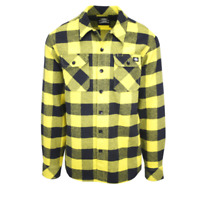 Dickies Men's Yellow & Black Box Plaid Sacramento L/S Flannel Shirt (S04)