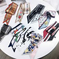 Fashion Women Print Long Strip Silk Ribbon DIY Hair Band Fine Scarf Neck Scarves