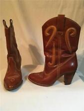 Vintage 1970's Brown Rawhide Leather Western Style Mid Calf Boots 5.5M