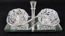 Antique ART DECO Cut Crystal Open Salts Dish Cellar French Cristallerie Lorraine