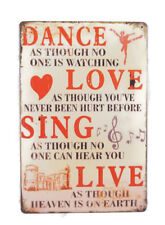 """Tin Metal Sign 8"""" x 12"""" Dance As Though No One Is Watching Wall Decor Sign"""