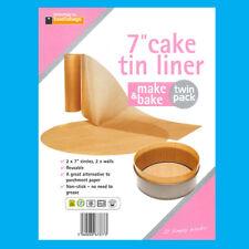 "2x 7"" Inch Reusable Non-Stick Beige Cake Tin Liners Make & Bake"