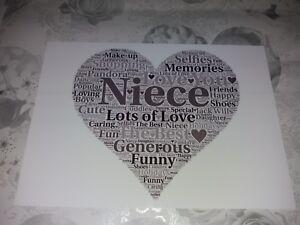niece word art present keepsake