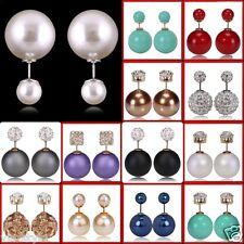 XL Doppel zwei Perlen Ohrringe Shamballa double Strass Kristall Gold Ohrstecker