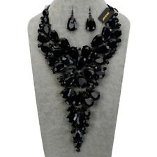 Fashion Jewelry Chain Black Resin Chunky Choker Statement Pendant Bib Necklace