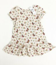 Baby Gap Girls Oatmeal With Multicolor Butterfly  Peplum Dress 18-24 Months