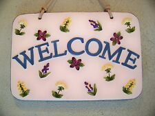 """Welcome Plaque Herb Garden 8""""X12"""" Ceramic Leather Strap Hanger,Multi-Color"""