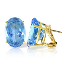 16 Carat 14K Solid Yellow Gold French Clips Earrings Natural Blue Topaz