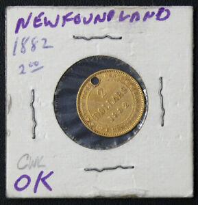 1882 GOLD NEWFOUNDLAND $2 LOVE TOKEN / PENDENT