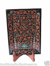 Belgium Black Marble Serving Tray Plate Carnelian Marquetry Inlay Decor Gift