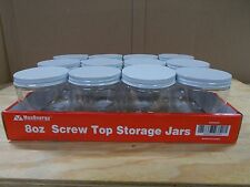8 oz Screw Top Storage Jars- White/Silver/Black Lids - Lot Of 12- Specify Color