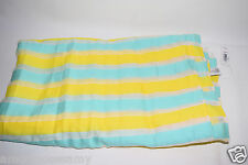 NEW Gap Womens Bright Stripe White Yellow Teal Scarf Shawl Wrap Cover Up Fringe