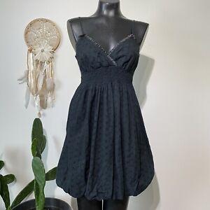 Medium Ladies Sun washed Black Smocked Eyelet Bubble Hem Dress