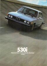 BMW 530i 1977 USA Market Foldout Sales Brochure 5-Series