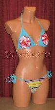 Sexy 2 pc Anisea String Bikini Swimsuit-Blue Floral Stripe Print(L)