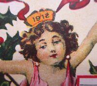 Vintage Happy New Year Postcard 1912 Calendar Used Antique