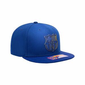 FC Barcelona Premium Blue Flat Peak Snapback Elite Baseball Hat Official