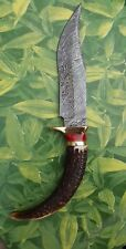CUSTOM HAND MADE DAMASCUS STEEL HUNTING KNIFE STAG HORN HANDLE & LEATHER CASE