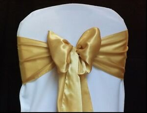 Pack of 50 Satin sash bow Chair Covers Sashes Bows Tie Wedding Party Decoration