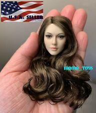 """1/6 Female BROWN HAIR Head Sculpt For 12"""" TBLeague PHICEN Figure ❶USA❶"""