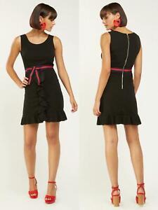 Ladies/Womens Black.Ruffle Trim, Zip Back Mini Dress.Size S-8-10.M-10-12.L-12-14