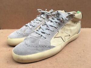 Golden Goose Cream / Grey Mid Laced Up Leather Sneakers Size EUR 43 | USA 10
