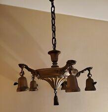 Vtg 1930s Art Deco Pan Ceiling Light Fixture Brass Hanging Chandelier 5 Arm